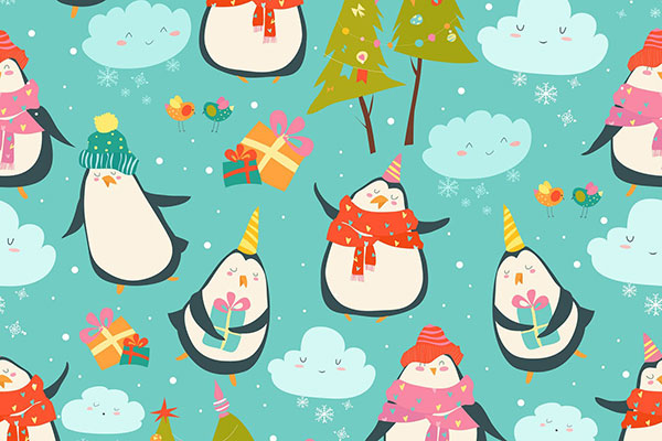 Seamless pattern with cute penguins and christmas