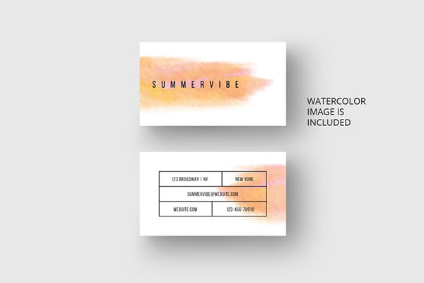 Business card template with watercolor design
