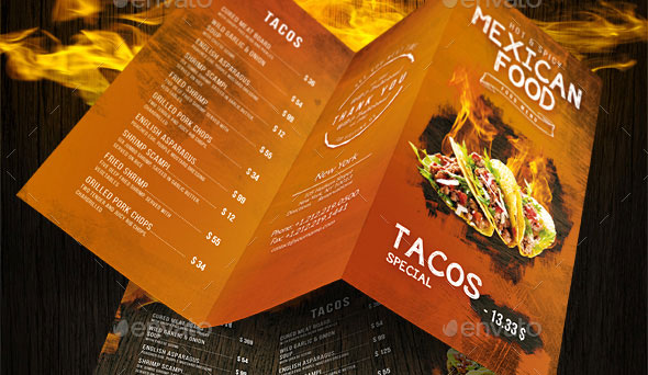 Mexican A4 and US Letter Trifold Food Menu