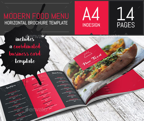 Modern Food Restaurant Menu Brochure / Bi-Fold Template