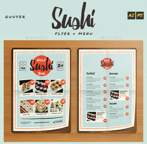 Sushi Bar Restaurant Menu/Flyer