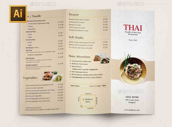 Thai Menu Tri-fold Brochures