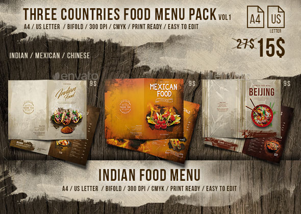 Three Countries Menu Pack vol-1 - A4 and US Letter