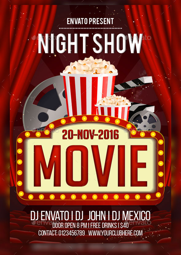 Psd Movie Night Flyer Design Templates  Photoshop  Idesignow