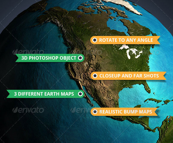 3D Photoshop Earth & InfoGraphics Set