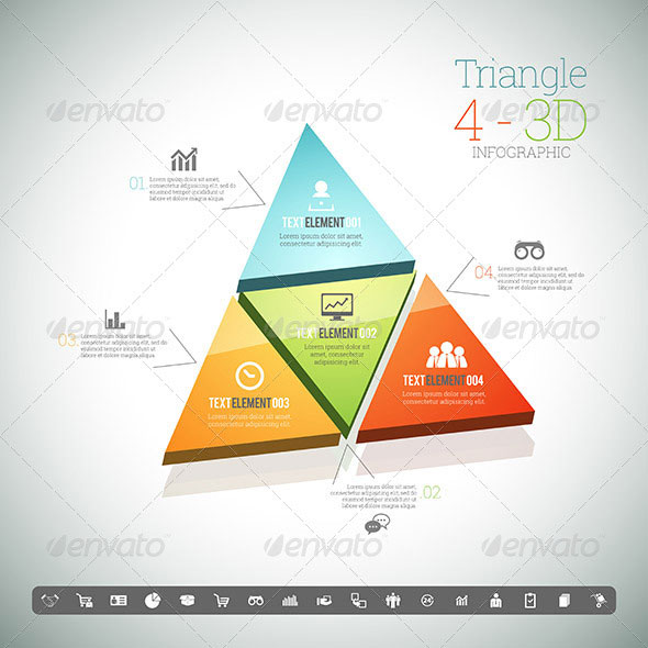 Triangle Four 3D Infographic