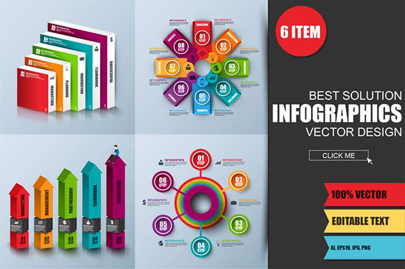 Abstract 3D Digital Business Infographics