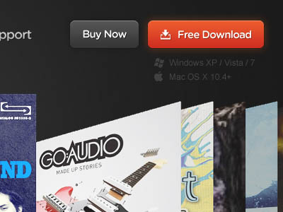 Dowload + Buy buttons on homepage header