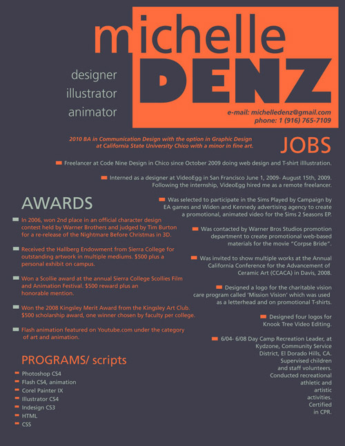 Michelle Denz Resume Design