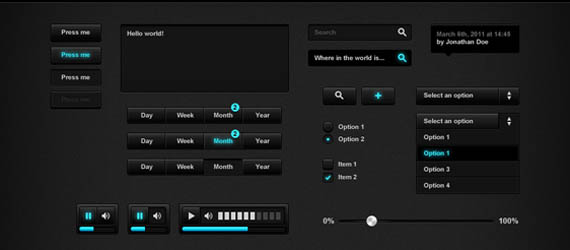 10 Free Video Player Skin & UI Element PSD Templates