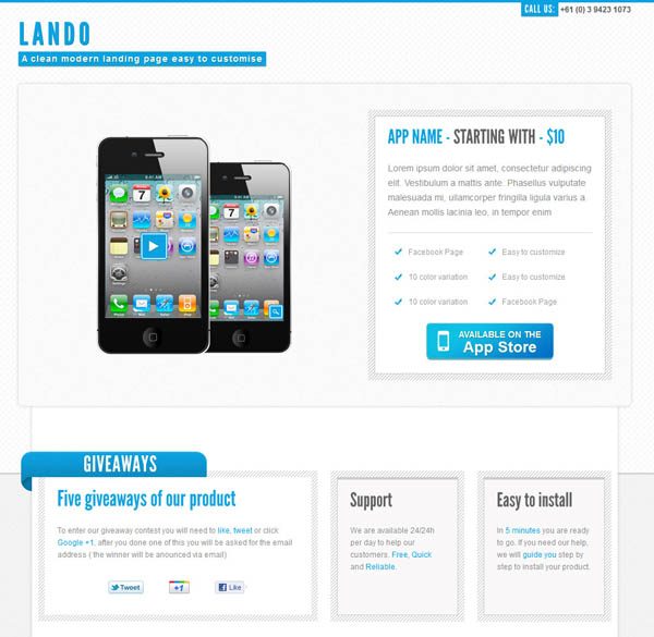 Lando landing page with facebook template_8