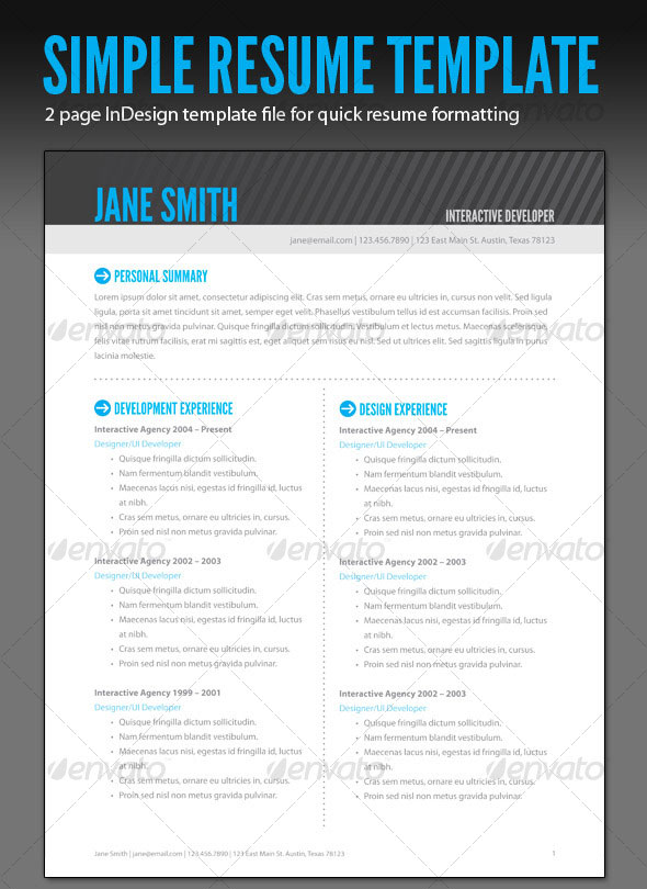 resume indesign template 15 photoshop indesign cv resume templates photoshop 24361 | Simple Resume Banner 12