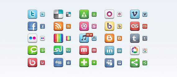 Social Media Icon Set : 15 Best Free Icons