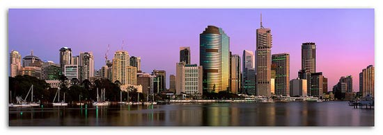 Brisbane City Sunrise (Fuji GX617) by Bernie Zajac / AustralianLight.com.au