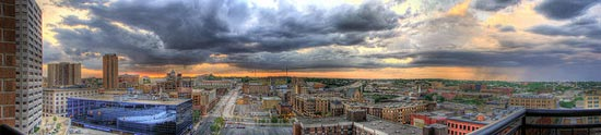 Rain to the East   - Panorama of St. Paul, MN by kodiax2