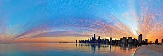 Chicago sunset on a 50 degree day in January by Joshua Mellin