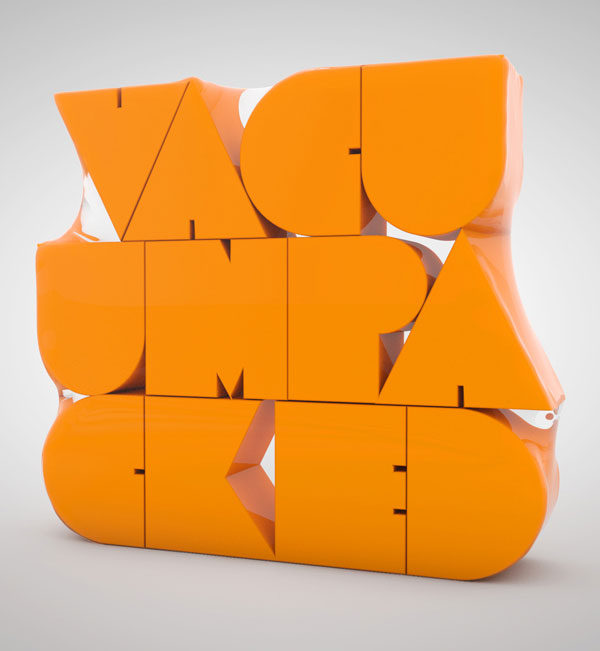 3d typography vacuum packed type
