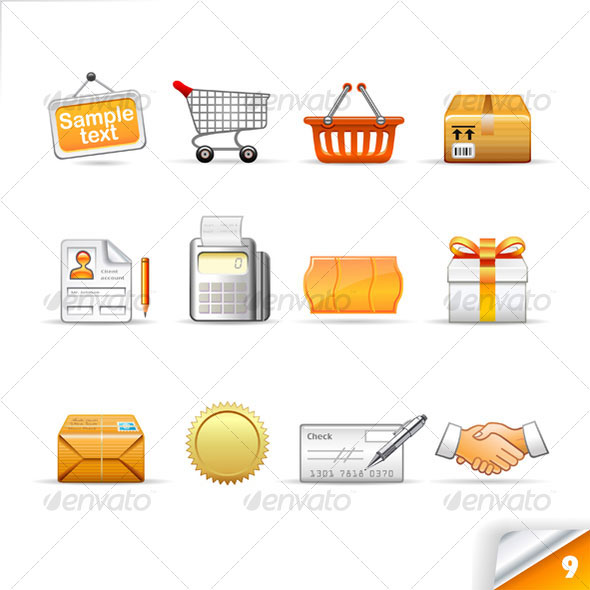 icon set n°9  - commerce theme - infinity series