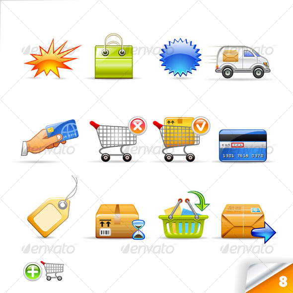 icon set n°8  - commerce theme - infinity series