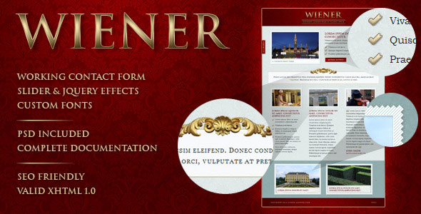 WIENER - classic style landing page
