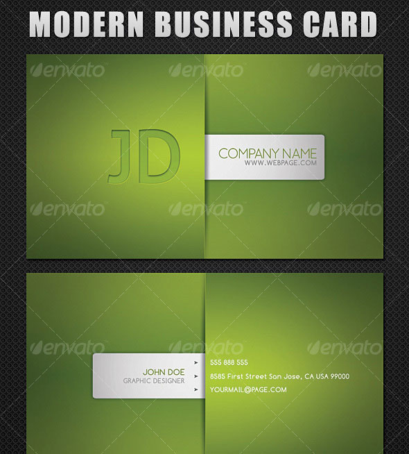 Modern Style Business Card - 5 Different Colors