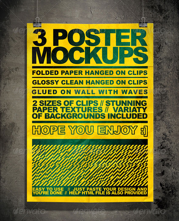 Poster Mock Up Kit = 3 Unique Styles + Backgrounds