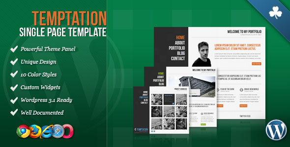 Temptation - Single Page WordPress Theme