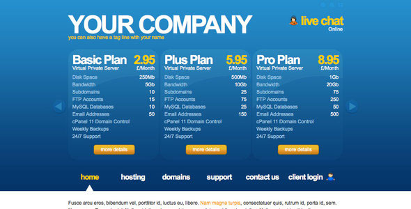 Connect - Clean Hosting Company (jQuery Plan Overview Slider)