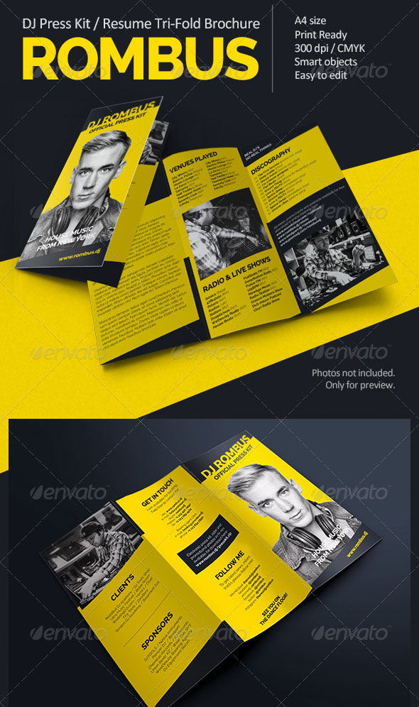 Rombus - DJ Press Kit Tri-Fold Brochure