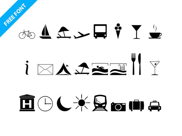 Travel Icons Font download by InRuntime via Paulius Uza