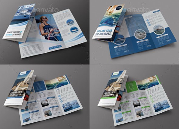 3 in 1 Sailing Travel Trifold Brochure Bundle
