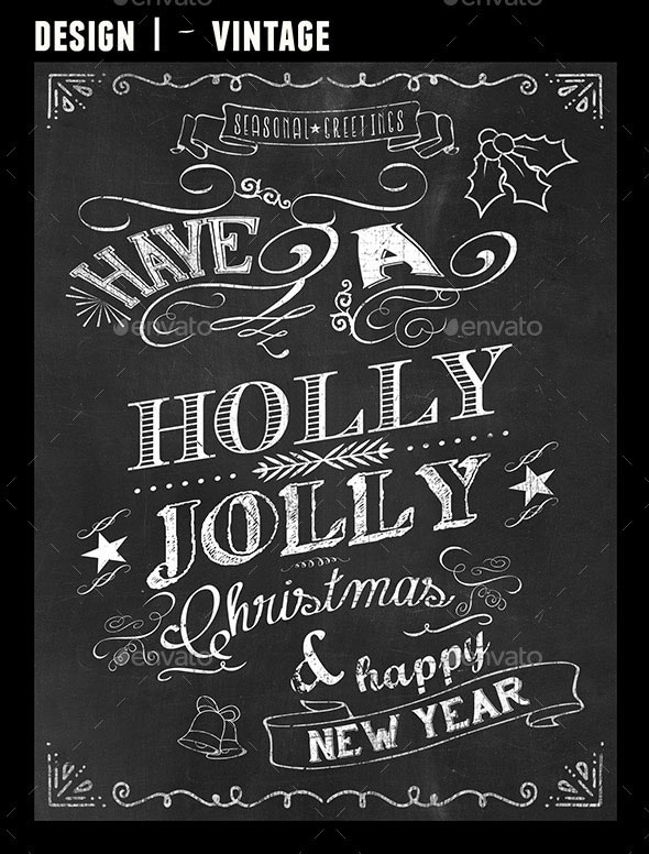 4 Retro Chalkboard Designs for Christmas and NY