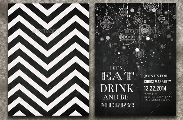 Chalkboard Christmas Party Invitation