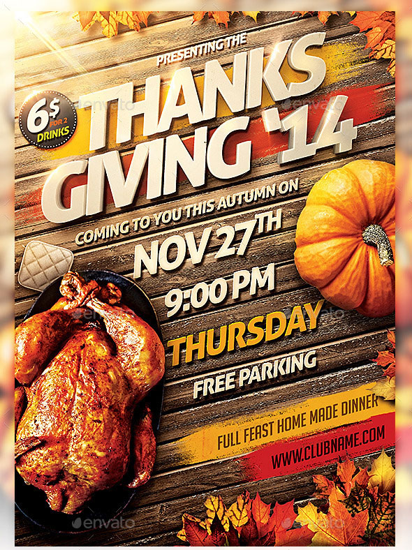 Thanks Giving Party Invitation Flyer