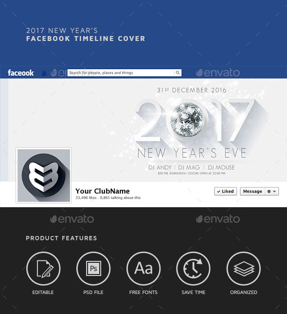 2017 New Year`s Facebook Timeline