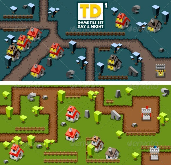 Tower Defense Game Tile Set One