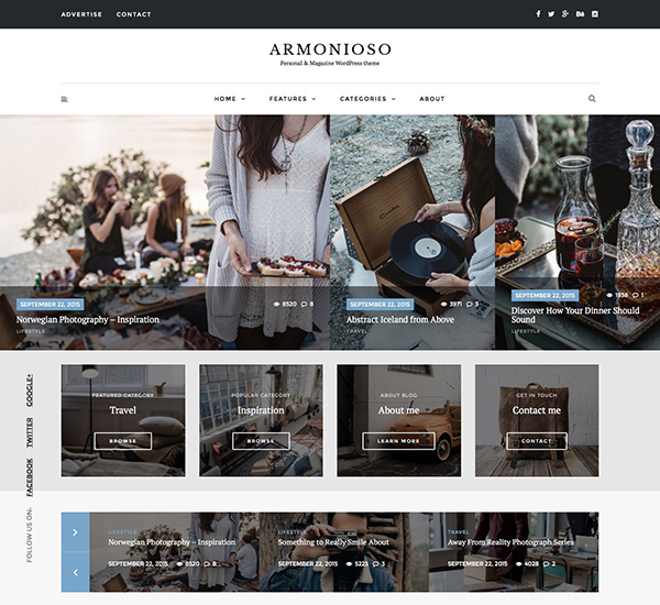 Armonioso - Personal & Magazine WordPress Responsive Blog Theme