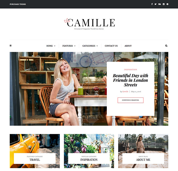 Camille - Personal & Magazine WordPress Responsive Clean Blog Theme