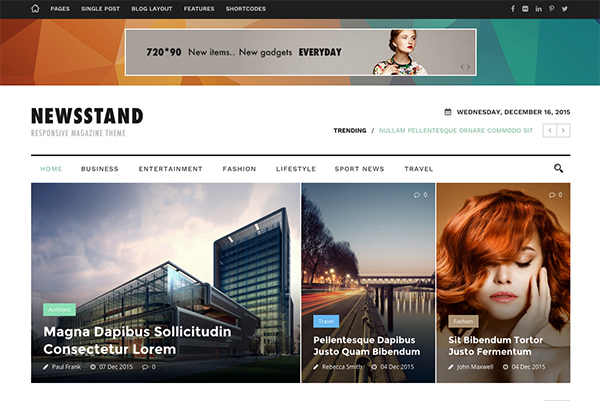 Newsstand - Responsive Magazine & Editorial WordPress Theme