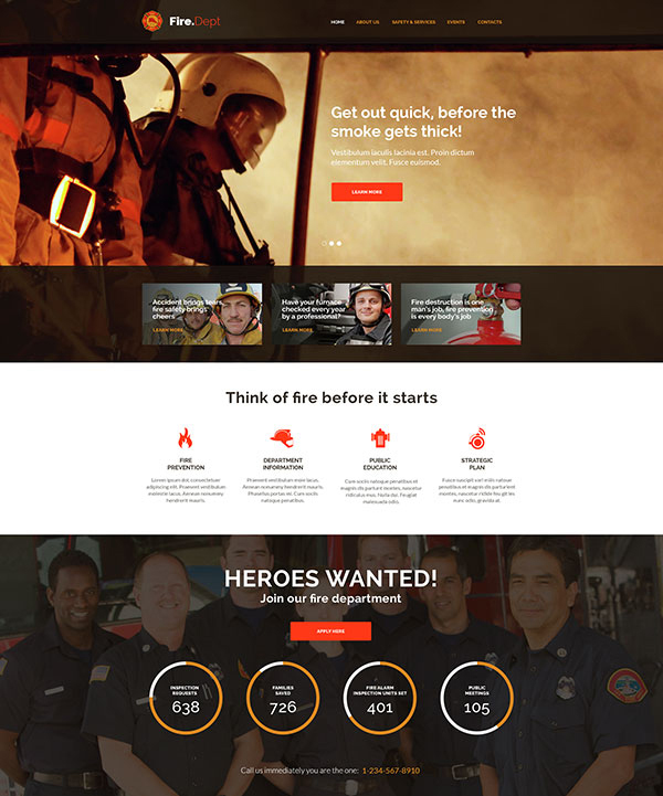 Fire Department, Fire Station and Security WP Theme