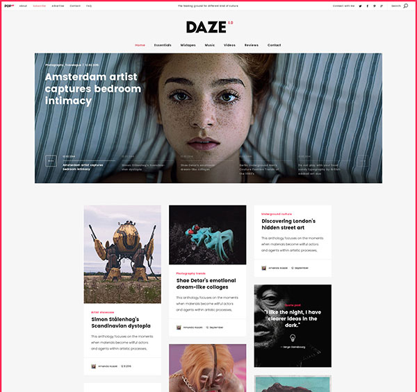 DAZE - A True Wall-Style Masonry Blog WordPress Theme