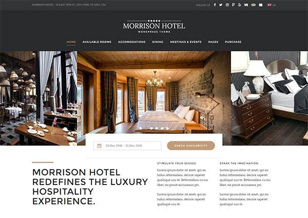 Morrison Hotel - Hotel Booking WordPress Theme