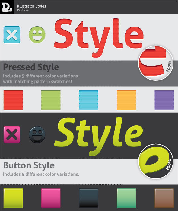 Pressed & Button Illustrator Styles
