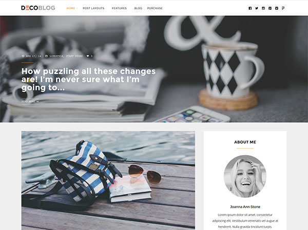 Decoblog - Lifestyle / Personal Blog Theme