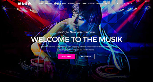 Musik - Music Bands, Artists, Musicians, Clubs OnePage Template