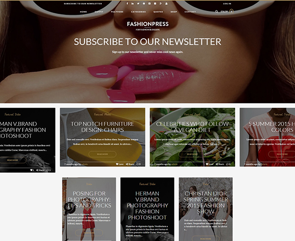 FashionPress - WordPress Theme for Fashion Bloggers - Responsive Blog Template