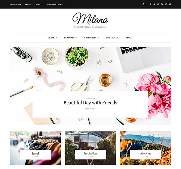 Milana - Personal & Magazine WordPress Responsive Fast Blog Theme