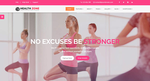 HealthZone - Daring Multi Concept HTML5 Template for Medical, Nursing, Yoga, Sports, Gym & Fitness