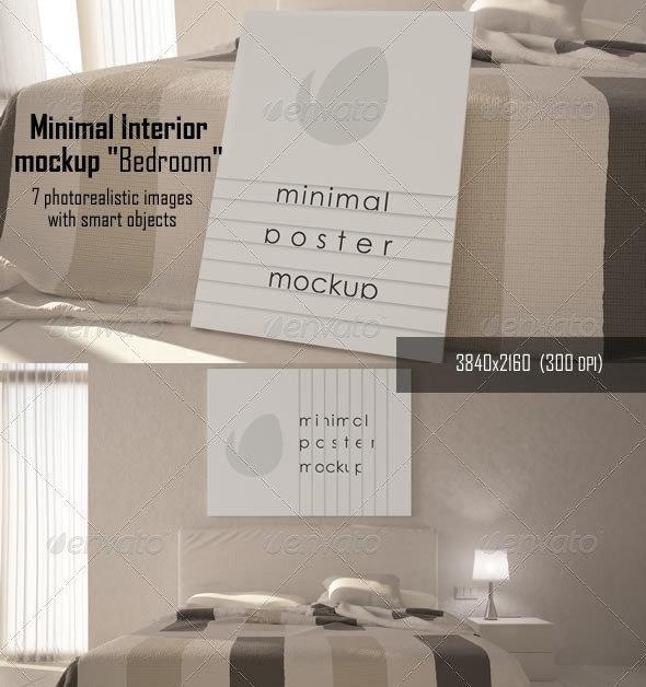 Minimal Interior Bedroom Mock-ups