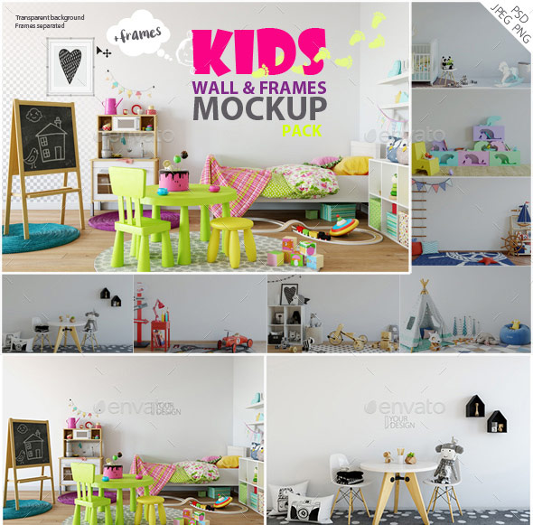 Kids Wall & Frames Mockup - Pack